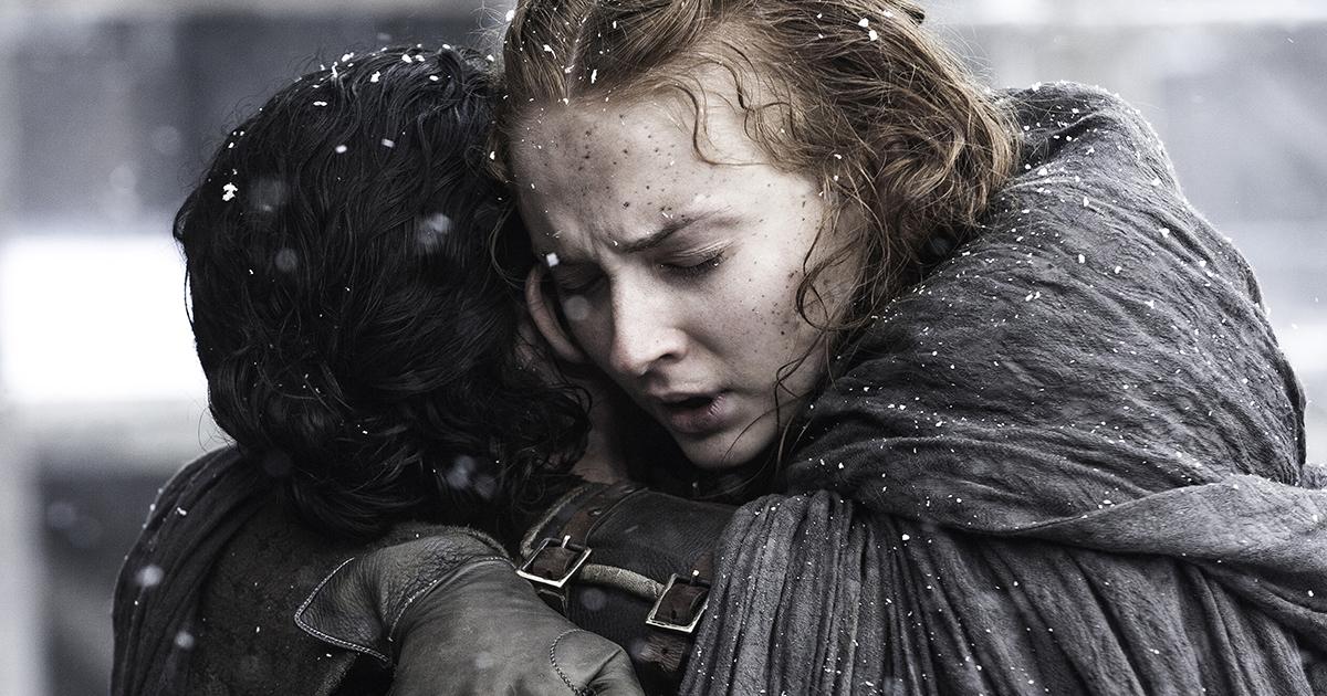 Sansa Stark hugging Jon Snow